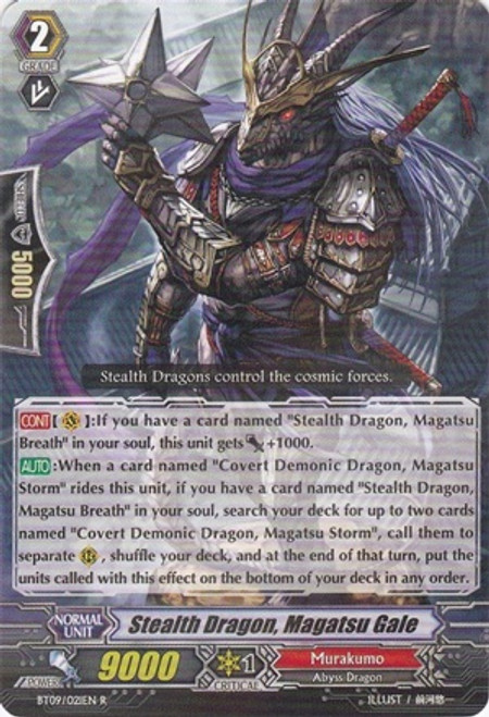 Cardfight Vanguard Clash of the Knights & Dragons Rare Stealth Dragon, Magatsu Gale BT09/021