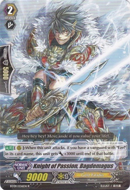 Cardfight Vanguard Clash of the Knights & Dragons Rare Knight of Passion, Bagdemagus BT09/036