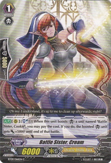 Cardfight Vanguard Clash of the Knights & Dragons Common Battle Sister, Cream BT09/066