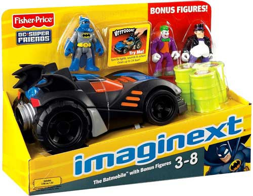 Fisher Price DC Super Friends Batman Imaginext Batmobile 3-Inch Figure Set [Bonus Figures]
