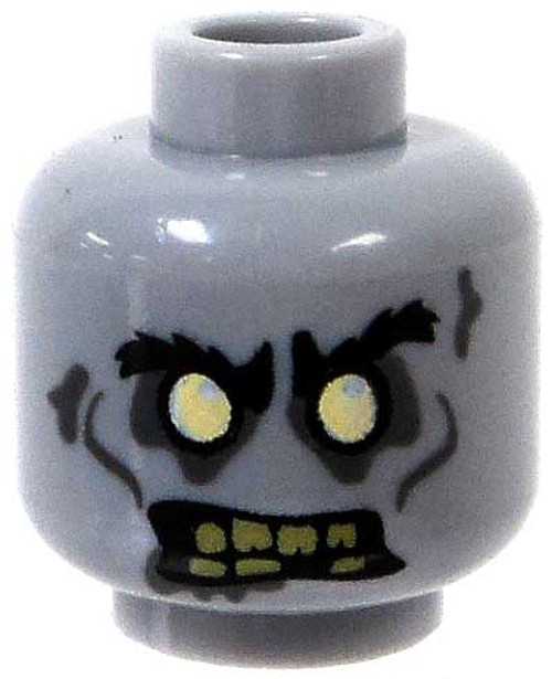 LEGO Minifigure Parts Gray Zombie with White Eyes & Yellowed Teeth Minifigure Head [Loose]