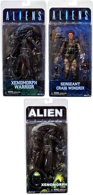 NECA Aliens Series 2 Windrix, Blue Warrior & 1979 Alien Set of 3 Action Figures