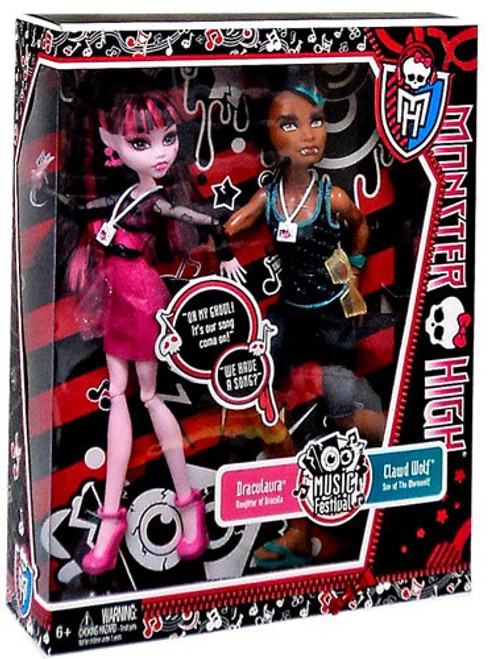 Monster High Music Festival Draculaura & Clawd Wolf Exclusive 10.5-Inch Doll 2-Pack