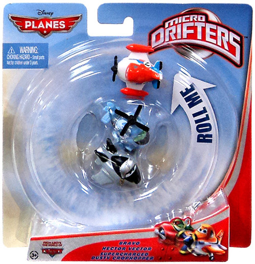 Disney Planes Micro Drifters Bravo, Hector Vector & Supercharged Dusty Crophopper Vehicle 3-Pack