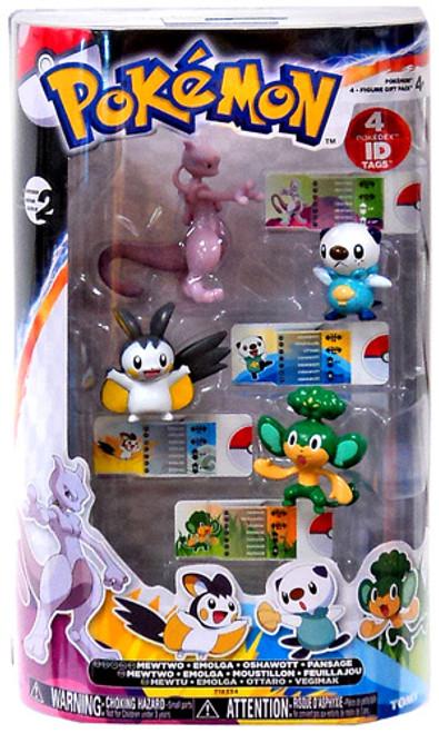 Pokemon Black & White Basic Mewtwo, Emogla, Oshawott & Pansage Figure 4-Pack