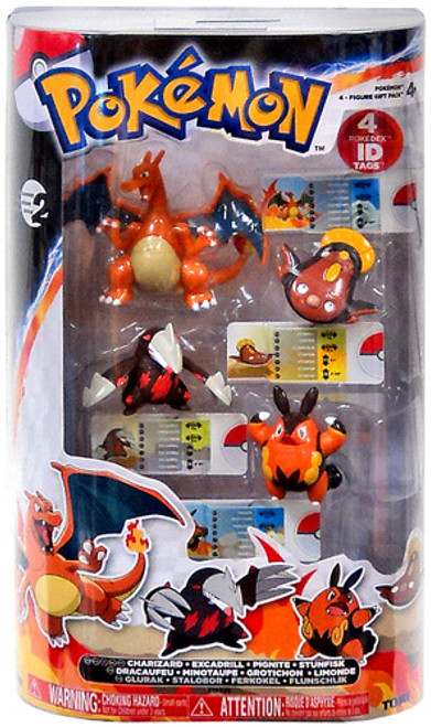 Pokemon Black & White Basic Charizard, Excadrill, Pignite & Stunfisk Figure 4-Pack