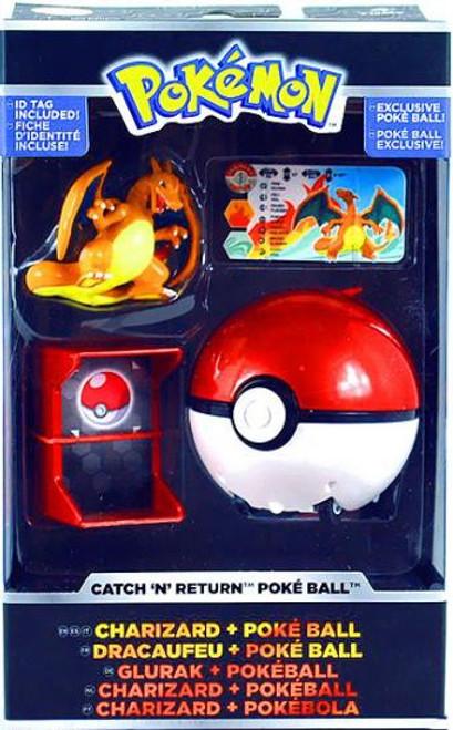 Pokemon TOMY Catch n Return Pokeball Charizard & Poke Ball Figure Set