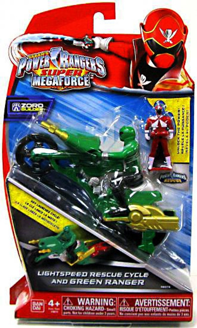 Power Rangers Super Megaforce Zord Builder Lightspeed Rescue Cycle & Green Ranger Action Figure