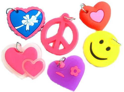 Rubber Band Bracelets Peace, Hearts & Smiley Chams Charms [6 ct]