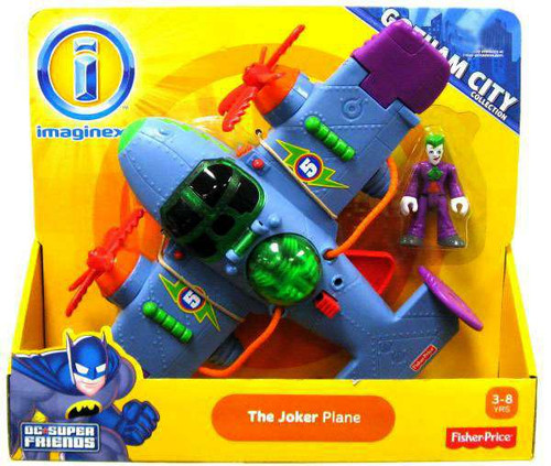 Fisher Price DC Super Friends Gotham City Imaginext The Joker Plane Exclusive 3-Inch Figure Set