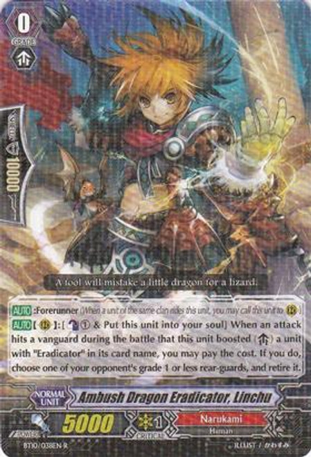 Cardfight Vanguard Triumphant Return of the King of Knights Rare Ambush Dragon Eradicator, Linchu BT10/038