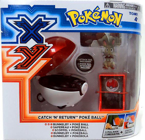 Pokemon TOMY Catch n Return Pokeball Bunnelby & Poke Ball Figure Set