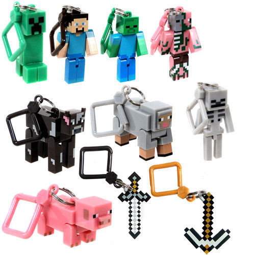 Minecraft Hangers Series 1 Set of all 10 Keychains [Includes Zombie Pigman Loose]