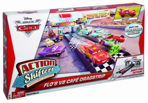 Disney Cars The World of Cars Action Shifters Flo's V8 Cafe Dragstrip Playset