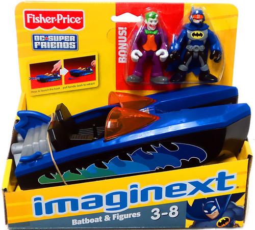 Fisher Price DC Super Friends Batman Imaginext Batboat 3-Inch Figure Set [Bonus Joker]