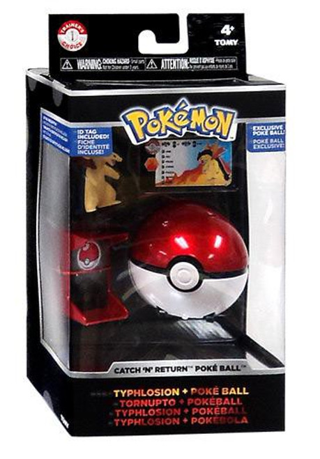 Pokemon TOMY Catch n Return Pokeball Typhlosion & Poke Ball Trainer's Choice Figure