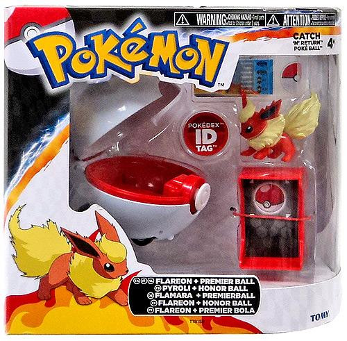 Pokemon Black & White TOMY Catch n Return Pokeball Flareon & Premier Ball Figure Set