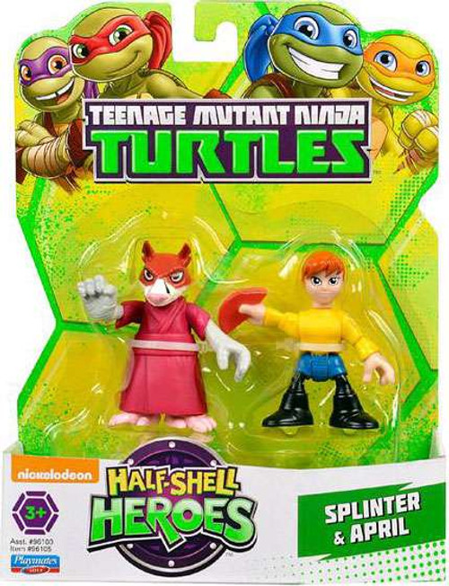 Teenage Mutant Ninja Turtles TMNT Half Shell Heroes Splinter & April Action Figure 2-Pack