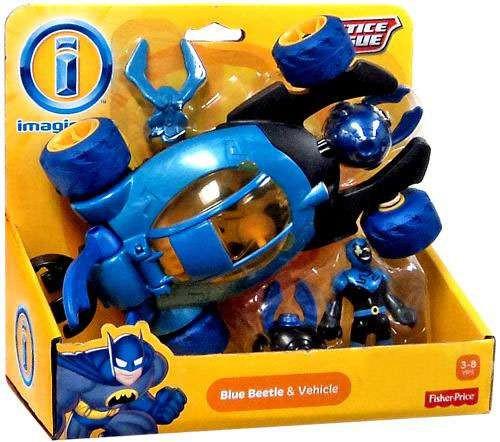 Fisher Price DC Super Friends Justice League Imaginext Blue Beetle & Vehicle Exclusive 3-Inch Figure Set