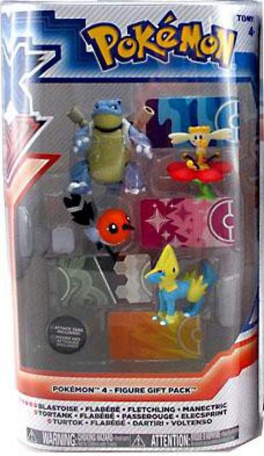 Pokemon XY Basic Blastoise, Flabebe, Fletchling & Manectric Figure 4-Pack