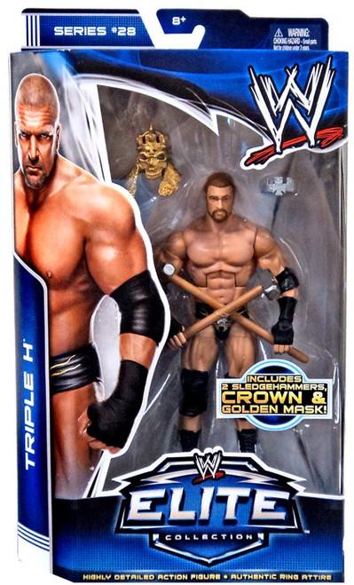 WWE Wrestling Elite Series 28 Triple H Action Figure [2 Sledgehammers, Gold Mask & Crown]