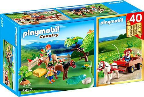 Playmobil Country 40th Anniversary Pony Pasture Compact Set + Pony Wagon Set #5457