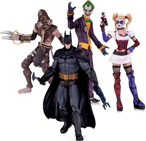 Arkham Asylum Batman, Joker, Harley Quinn & Scarecrow Action Figure 4-Pack