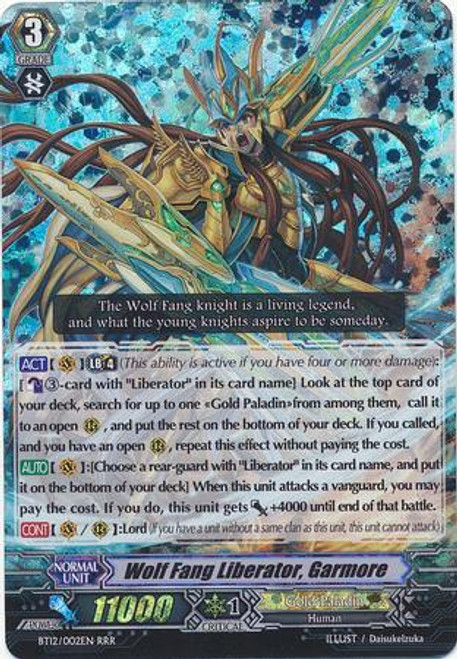 Cardfight Vanguard Binding Force of the Black Rings RRR Rare Wolf Fang Liberator, Garmore BT12/002