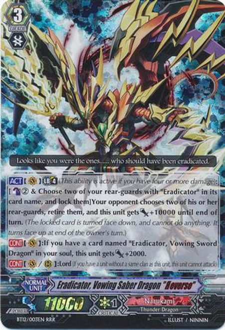 "Cardfight Vanguard Binding Force of the Black Rings RRR Rare Eradicator, Vowing Saber Dragon ""Reverse"" BT12/003"
