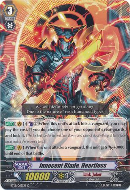 Cardfight Vanguard Binding Force of the Black Rings Common Innocent Blade, Heartless BT12/062