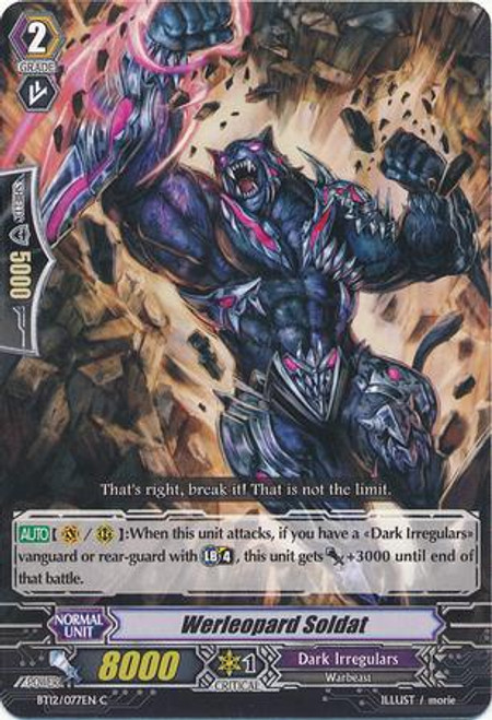 Cardfight Vanguard Binding Force of the Black Rings Common Werleopard Soldat BT12/077