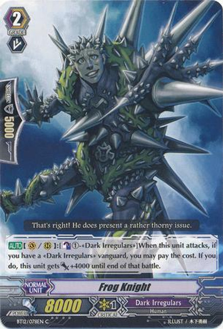 Cardfight Vanguard Binding Force of the Black Rings Common Flog Knight BT12/078