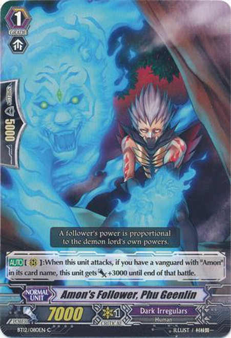 Cardfight Vanguard Binding Force of the Black Rings Common Amon's Follower, Phu Geenlin BT12/080