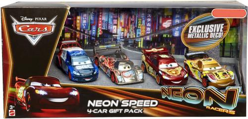 Disney Cars Neon Racers Neon Speed 4-Car Gift Pack Exclusive Diecast Car Set [Metallic Deco]