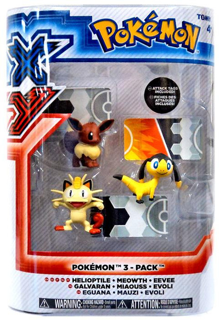 Pokemon XY Basic Helioptile, Meowth & Eevee Figure 3-Pack