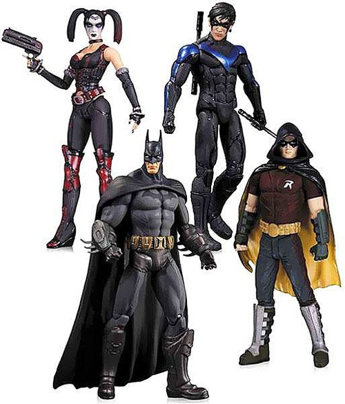 Arkham City Batman, Nightwing, Harley Quinn & Robin Action Figure 4-Pack