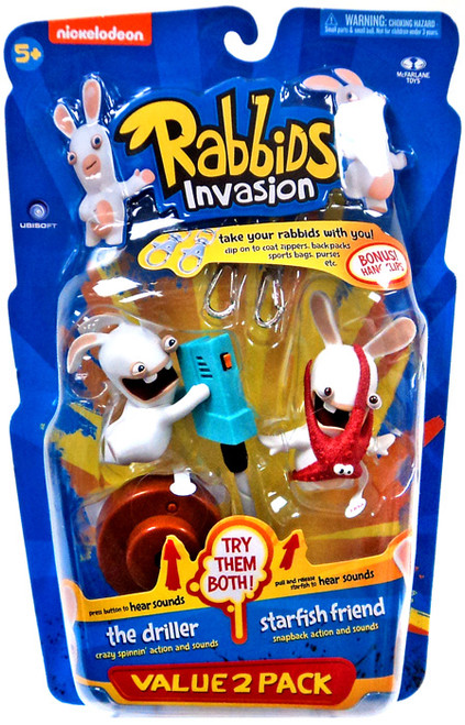 McFarlane Toys Raving Rabbids Rabbids Invasion Series 2 The Driller & Starfish Friend Action Figure 2-Pack