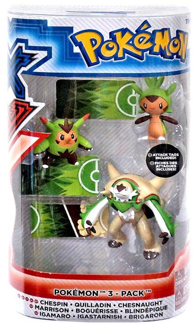 Pokemon XY Evolution Chespin, Quilladin & Chesnaught Figure 3-Pack