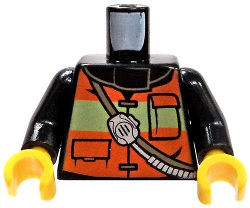 LEGO City Minifigure Parts Black Torso with Orange Safety Vest & Radio Loose Torso [Loose]