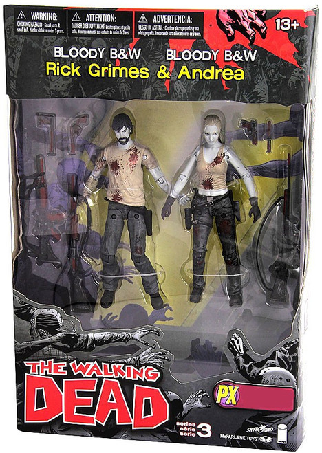 McFarlane Toys Walking Dead Comic Series 3 Rick Grimes & Andrea Exclusive Action Figure 2-Pack [Bloody Black & White]