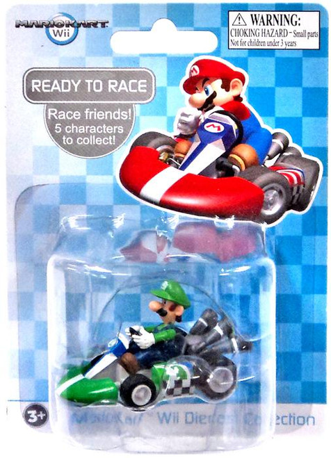 Super Mario Mario Kart Wii Diecast Collection Luigi 2-Inch Diecast Vehicle