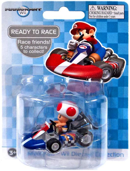 Super Mario Mario Kart Wii Diecast Collection Toad 2-Inch Diecast Vehicle