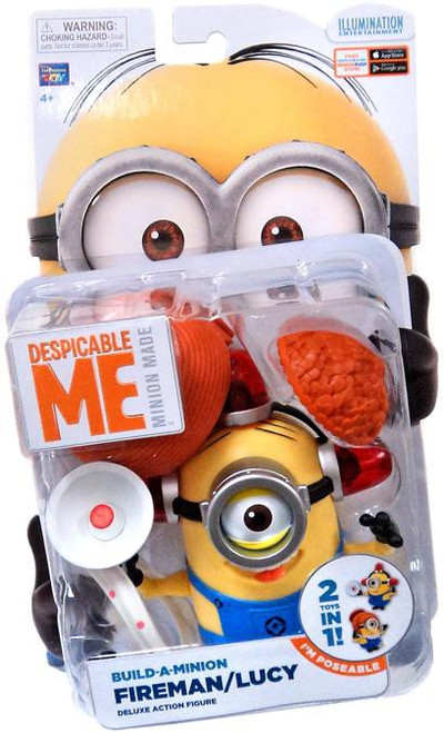 Despicable Me Minion Made Build-a-Minion Fireman / Lucy Action Figure