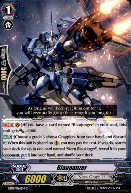 Cardfight Vanguard Champions of the Cosmos Common Blaupanzer EB08/026