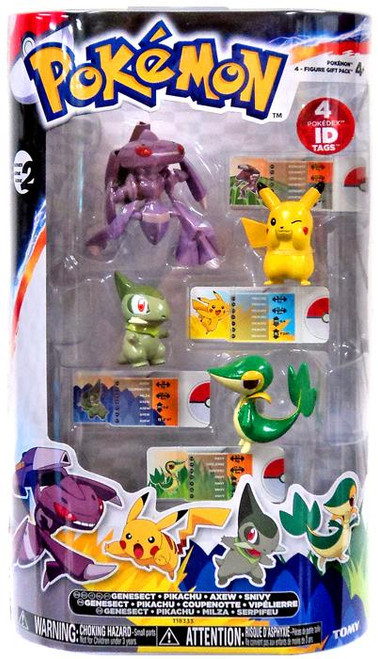 Pokemon Black & White Basic Genesect, Pikachu, Axew & Snivy Figure 4-Pack