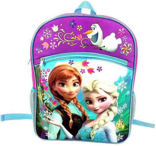 Disney Frozen Anna & Elsa Backpack [Purple & Blue Flowers]