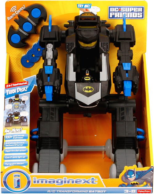 Fisher Price DC Super Friends Batman Imaginext R/C Transforming Batbot Vehicle [Black & Blue]