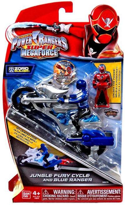 Power Rangers Super Megaforce Zord Builder Jungle Fury Cycle & Blue Ranger Action Figure