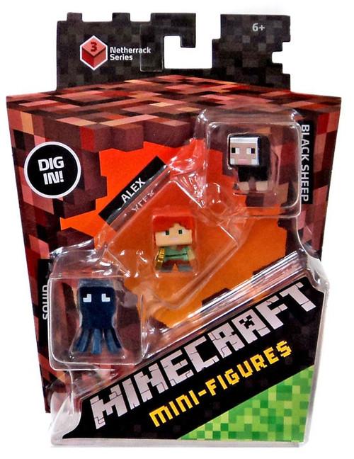 Mattel Minecraft Netherrack Series 3 Squid, Alex & Black ...