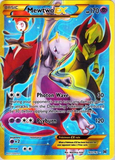 Pokemon X & Y BREAKthrough Secret Rare Holo Mewtwo-EX #163